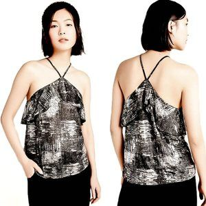 Anthropologie Silver and Black Halter Top